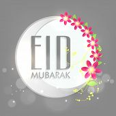 Stylish sticky design with silver crescent moon and floral decorated grey background for Muslim comm