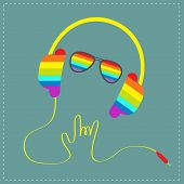 Rainbow Headphones With Cord In Shape Of Hand With Sunglasses. Rock And Roll Sign. Blue Background.
