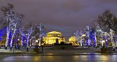 Moscow, Big (bolshoy) Theatre With Illuminated Trees