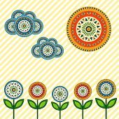 Application Assembled From Bright Abstract Circles. Vector Illustration. Summer Background.