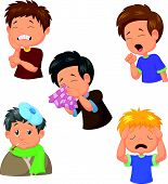 picture of dizziness  - Vector illustration of sick boy cartoon collection isolated on white - JPG