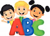 Cartoon School kids with ABC