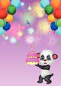 Panda cartoon holding birthday cake