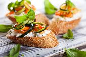 Zucchini,carrot and goat's cheese bruschetta