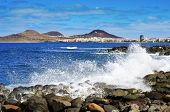 the Atlantic Ocean breaking in the rocks in the coast of Las Palmas de Gran Canaria, Spain