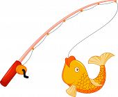 Cartoon Fishing pole with hook and fish