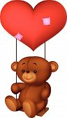 Balloon shaped read heart little brown bear cartoon swing