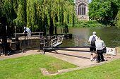 Opening canal lock, Stratford-upon-Avon.