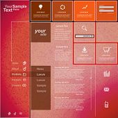 Website template orange pink design, vector