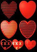 Set of XOXO hearts on black background