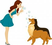 Illustration of a Woman Playing with Bubbles with Her Pet Dog