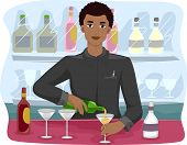 Illustration of a Bartender Mixing Drinks