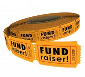 Fund Raiser words roll fifty-fifty or 50-50 raffle tickets as a charity event raising money
