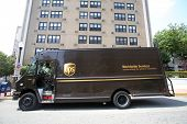 WEST NEW YORK, N.J. - THUR. JULY 3, 2014: An United Parcel Service ( UPS ) delivery truck in West Ne