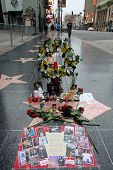 HOLLYWOOD, CALIFORNIA - WED. JUNE 25, 2014: A makeshift memorial covers Michal Jackson's star on the