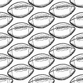Sketch American Football Ball, Vector Seamless Pattern