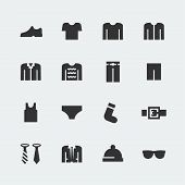 Men's Clothes Vector Mini Icons Set
