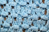 Blue Crocheted Afghan Blanket Detail
