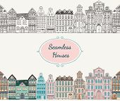 Vector Seamless Old Styled Houses