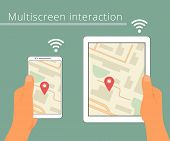 Multiscreen interaction. Synchronization of smartphone and tablet pc