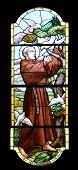 PORTOFINO, ITALY - MAY 04: Saint Francis of Assisi, stained glass window in Church of St. Martin in Portofino in the province of Genoa, in the diocese of Chiavari. Portofino. Italy, on May 04, 2014.