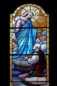 PORTOFINO, ITALY - MAY 04, 2014: Virgin Mary, stained glass window in Church of St. Martin in Portof