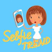 Girl is taking selfie. Handdrawn vector illustration on blue background