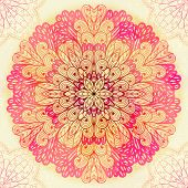 Hand Drawn Ethnic Circular Pink Ornament. Eps10