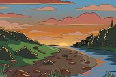 Editable vector illustration of a river valley landscape at sunset