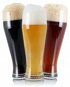 Three Different Beer With Foam