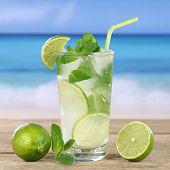 Mojito Or Caipirinha Cocktail Drink On The Beach