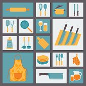 Kitchen and cooking icons set, kitchenware and utensils icons, food vector illustration for restaura