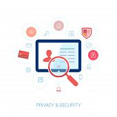 Set of modern flat design icons on the topic of online security, privacy protection and data safety.
