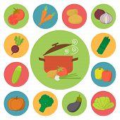Vegetable vector icons, food set for cooking, restaurant, menu, vegetables and vegetarian food. Flat