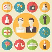 Wedding icons set, flat design vector