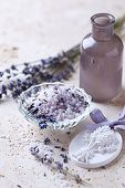 Lavender Bath Salt with Lavender Flowers