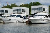 DOLGOPRUDNY, MOSCOW REGION, RUSSIA - JULY 4, 2014: Boats moored in the yacht club Neptune. Founded i