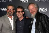 LOS ANGELES - JUL 9:  Thomas Schlamme, Sam Shaw, Daniel Stern at the WGN Series Manhattan Photo Op J