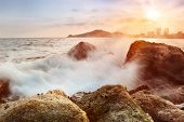Rocks, sea, sunset The natural landscape
