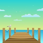 foto of flock seagulls  - Cartoon illustration of the wooden pier with seagull - JPG