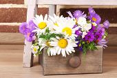Beautiful flowers in crate on small ladder on brick wall background