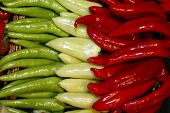 Red green and white/yellow peppers