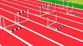 Row of hurdles on running track closeup