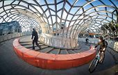 MELBOURNE, AUSTRALIA - July 3 2014:  Webb Bridge is an award winning bridge crossing the Yarra River