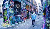 MELBOURNE, AUSTRALIA - JULY 3 2014: Street art by unidentified artist. Melbourne's graffiti manageme