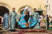 TIKHVIN, RUSSIA - JUL 9, 2014: Bishop Tikhvin and Lodeinopolskiy Mstislav celebrate Orthodox divine