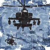 Army grunge background with helicopter. Vector
