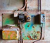 pic of contactor  - Old electrical panel on a concrete wall - JPG