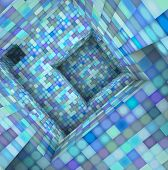 3D  Tile Mosaic Labyrinth Interior In Blue