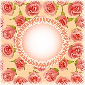 Background With Roses And Lace Circle For Text